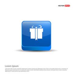 christmas gift box icon - 3d blue button vector image