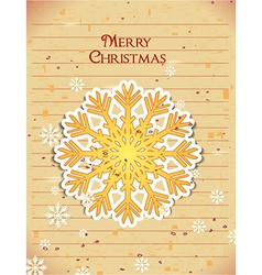 Christmas with sticker snow flake vector