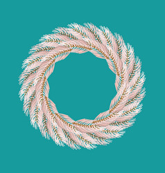 christmas wreath white isolated fir branch vector image