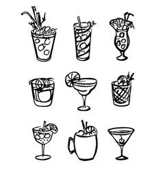 Collection set icon hand-drawn doodle cartoon vector