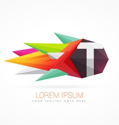 colorful abstract logo with letter T vector image