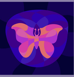 Colorful art with shiny neon colored butterfly vector
