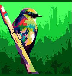 colorful bird wpap pop art style birds perch on vector image