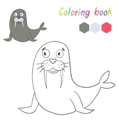 Coloring book bird seal kids layout for game vector image