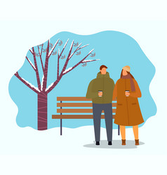 Couple or friends drinking coffee in winter park vector