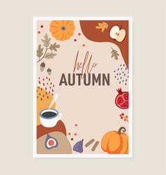 cute autumn greeting card invitation pumpkins vector image