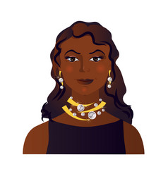 Cute avatar afro american woman brunette hair vector