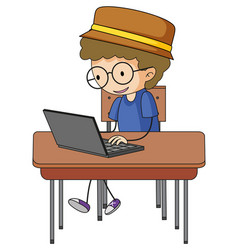 Cute boy using laptop doodle cartoon character vector