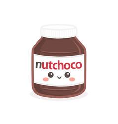 Cute chocolate spread bottle jar cartoon vector