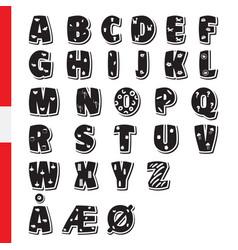 Cute funny childish danish alphabet font vector