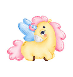 cute little yellow unicorn with blue wings vector image