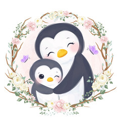 cute mom and baby penguin vector image