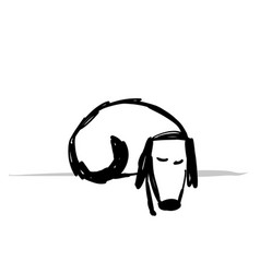 Cute sliping dog sketch for your design vector
