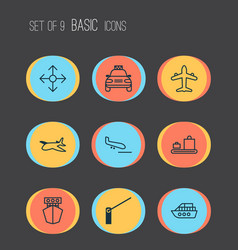 Delivery icons set collection of roadblock ship vector