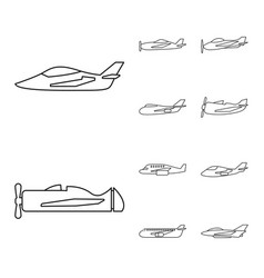 Design commercial and flight icon set vector