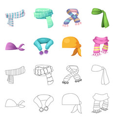 Design of scarf and shawl icon collection vector