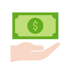 Dollar bill in hand bank and financial related vector