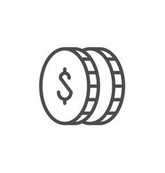dollar coins line icon and money concept vector image