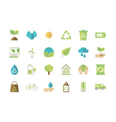 Ecological green energy icons collection vector