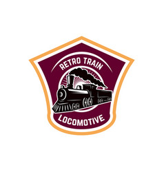 Emblem template with retro train rail road vector