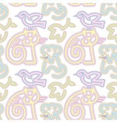 Embroidered cat bird and mouse pattern vector