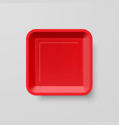 Empty red plastic food square container on gray vector