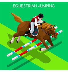 Equestrian Jumping 2016 Summer Games 3D vector image