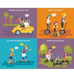 Family with kids active life vector image