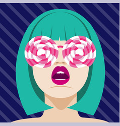 Fashion woman with lollipops sunglasses art vector