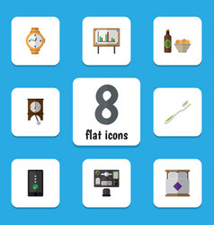 flat icon life set of clock cellphone beer with vector image