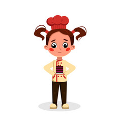 Girl baker or confectioner character holding plate vector