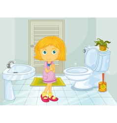 Girl in the bathroom vector image