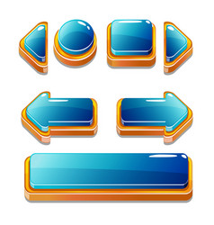 gold and blu buttons for game or web design vector image