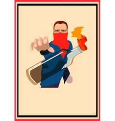 Guy throws a Molotov cocktail poster vector