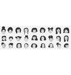 Hairstyle brunette woman doodle set vector