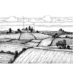 hand drawn ink sketch rural landscape vector image