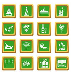 Happy birthday icons set green vector
