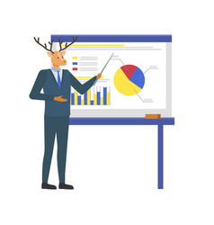 Hipster animal giving presentation on whiteboard vector