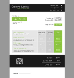 Invoice template - clean modern style of green and vector image