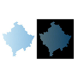 Kosovo map hex tile abstraction vector