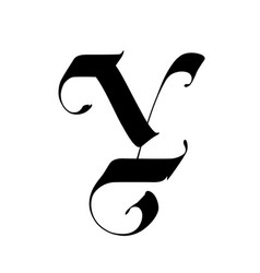 Letter y in gothic style alphabet the symbol vector
