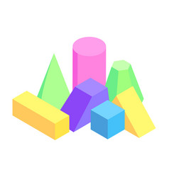 Lot of colorful geometric figures varied prisms vector