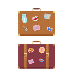 luggage travel bags with stickers icons set vector image