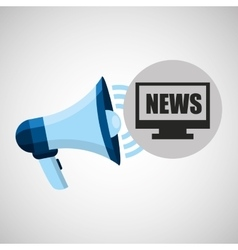 Megaphone concept news online pc design vector