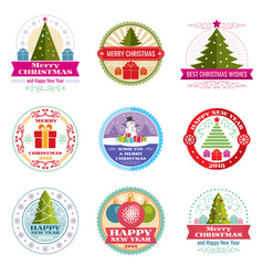 Merry christmas labels winter holiday vector