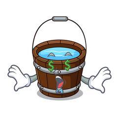 Money eye wooden bucket mascot cartoon vector