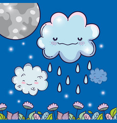 Moon with happy fluffy clouds raining vector