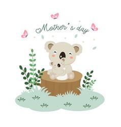 mother koala hugging her baby vector image