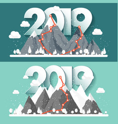 Mountains in winter2019 peak with snow nature vector