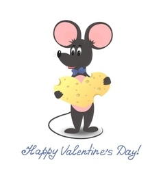 Mouse with cheese heart Valentines Day vector image